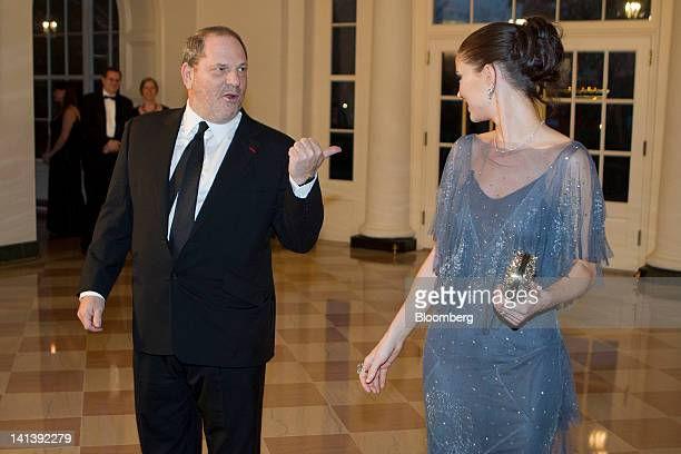 Harvey Weinstein cochairman and founder of Weinstein Co and Georgina Chapman arrive to a state dinner hosted by US President Barack Obama and first...