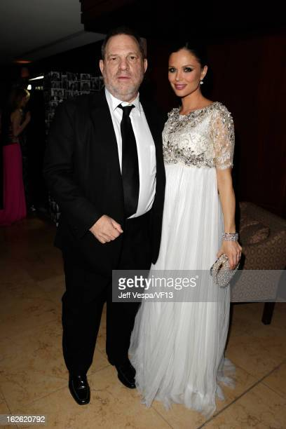 Harvey Weinstein cochairman of The Weinstein Company and designer Georgina Chapman attend the 2013 Vanity Fair Oscar Party hosted by Graydon Carter...