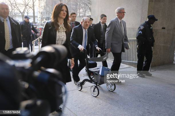 Harvey Weinstein enters a Manhattan court house with his lawyer Donna Rotunno as a jury continues with deliberations in his trial on February 24 2020...