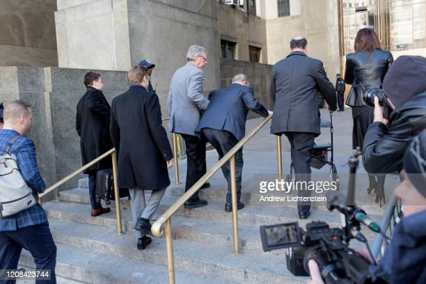 Harvey Weinstein enters the courthouse before a judgment against him of two counts of sexual assault on February 24 2020 in New York City