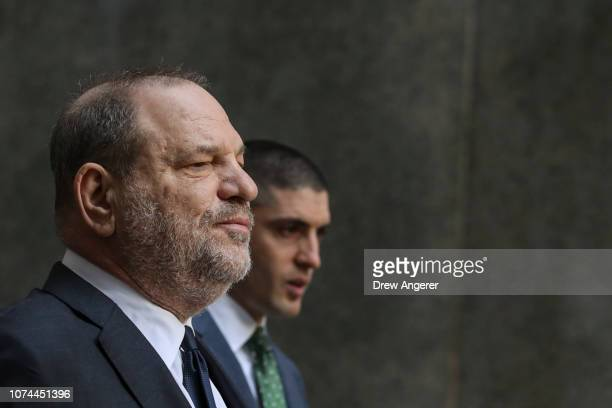 Harvey Weinstein exits a court hearing at New York Criminal Court December 20 2018 in New York City Weinstein's legal team is expected to try to...
