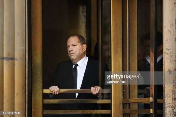 Harvey Weinstein exits court after an arraignment over a new indictment for sexual assault on August 26 2019 in New York City The new charges against...