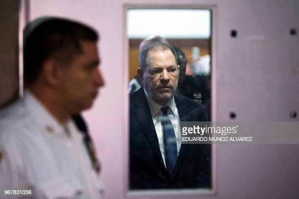TOPSHOT Harvey Weinstein exits the Manhattan Criminal Court room on June 5 2018 in New York Weinstein pleaded not guilty to rape and sexual assault...