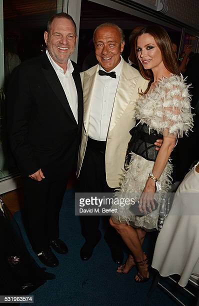 Harvey Weinstein Fawaz Gruosi and Georgina Chapman attend the de Grisogono party during the 69th Cannes Film Festival at Hotel du CapEdenRoc on May...