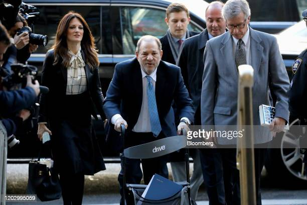 Harvey Weinstein former cochairman of the Weinstein Co center arrives with his attorney Donna Rotunno left at state supreme court in New York US on...
