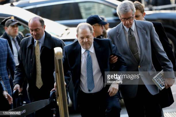 Harvey Weinstein former cochairman of the Weinstein Co center arrives at state supreme court in New York US on Monday Feb 24 2020 Jurors at...