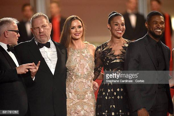 """Harvey Weinstein, Georgina Chapman, Grace Miguel and Usher attend the """"Hands Of Stone"""" Premiere during the annual 69th Cannes Film Festival at Palais..."""