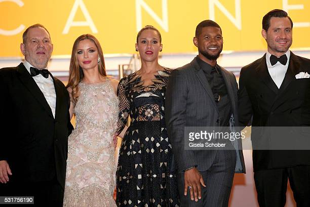 """Harvey Weinstein, Georgina Chapman, Grace Miguel, Usher and Edgar Ramirez attend the """"Hands Of Stone"""" premiere during the 69th annual Cannes Film..."""