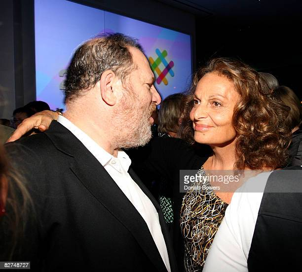 Harvey Weinstein hugs Diane VonFurstenberg during the 23 and Me Spit party at the IAC Building on September 9 2008 in New York City