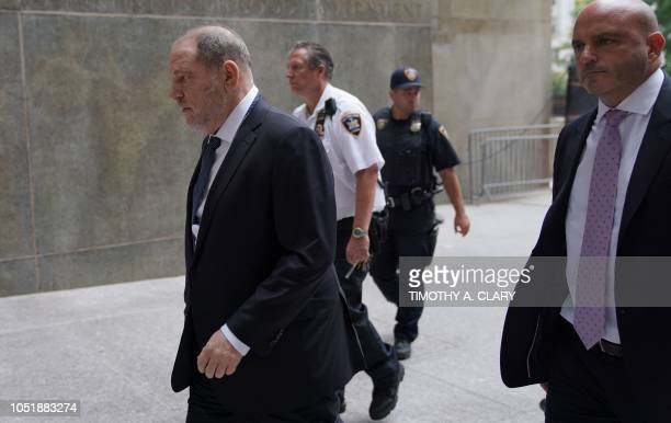 Harvey Weinstein is escorted in by court officers as he arrives at New York Criminal Court on October 11 2018 for a hearing on his criminal case