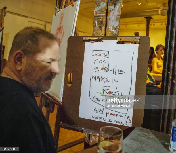Harvey Weinstein is photographed for Vanity Fair Magazine on September 15 2016 at a drawingparty fundraiser at the Tribeca art school in New York...