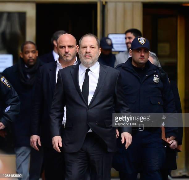 Harvey Weinstein is seen levaing court in Manhattan on January 25 2019 in New York City