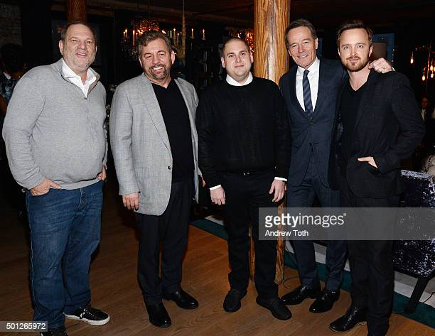 Harvey Weinstein James Dolan Jonah Hill Bryan Cranston and Aaron Paul attend a celebration for Bryan Cranston at House of Elyx on December 13 2015 in...