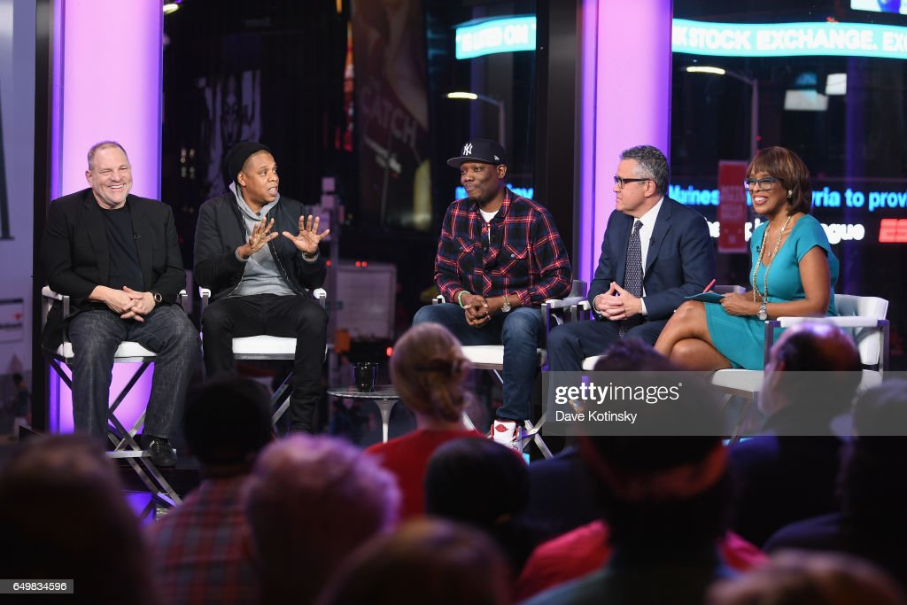 Harvey Weinstein, Jay Z, Michael Che, Jeffrey Toobin, and Gayle King speak onstage during