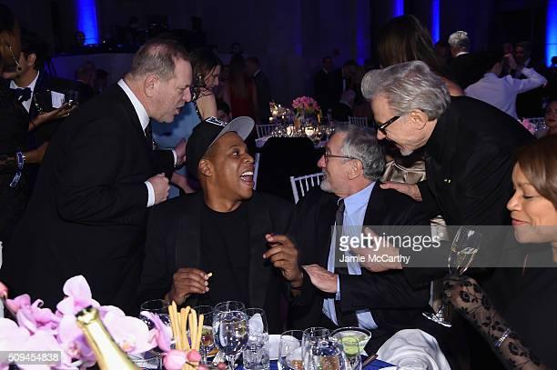 Harvey Weinstein Jay Z Robert De Niro Harvey Keitel and Grace Hightower attend the 2016 amfAR New York Gala at Cipriani Wall Street on February 10...