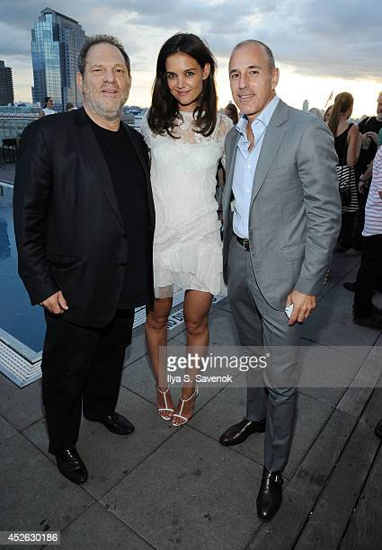 Harvey Weinstein Katie Holmes and Matt Lauer attend the ASP The World Surf League cocktail party at The Jimmy at the James Hotel on July 24 2014 in...