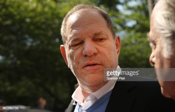 Harvey Weinstein leaves a New York criminal court after posting bail following his arrest this morning on charges of rape, committing a criminal sex...