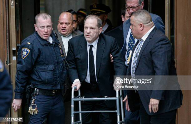 Harvey Weinstein leaves from the court on January 6, 2020 in New York City. Weinstein, a movie producer whose alleged sexual misconduct helped spark...