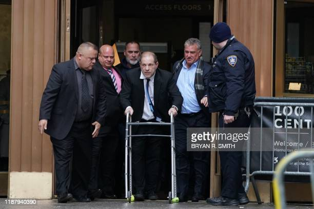 TOPSHOT Harvey Weinstein leaves Manhattan Criminal Court using a walker following a hearing on December 11 2019 in New York The oncepowerful film...