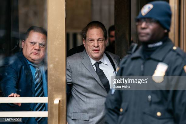 Harvey Weinstein leaves New York City Criminal Court after a bail hearing on December 6, 2019 in New York City. The Oscar-winning producer appeared...