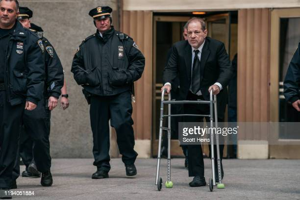 Harvey Weinstein leaves New York City Criminal Court on January 16, 2020 in New York City. Weinstein, a movie producer whose alleged sexual...