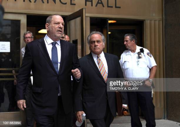 Harvey Weinstein leaves New York Criminal Court October 11 2018 with his lawyer Benjamin Brafman after his hearing on his criminal case
