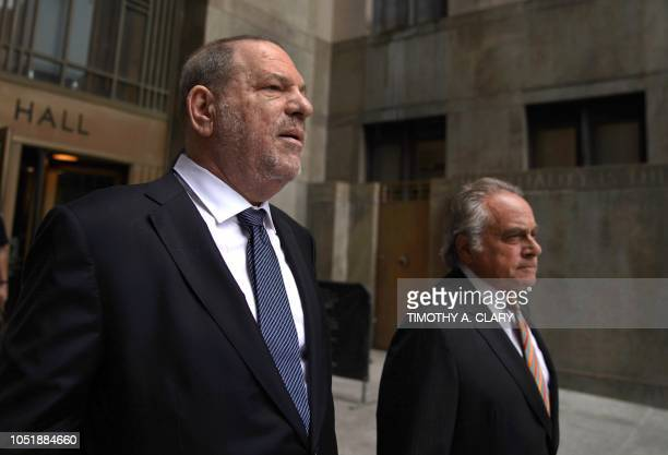 Harvey Weinstein leaves New York Criminal Court October 11 2018 with his lawyer Benjamin Brafman after his hearing on his criminal case A New York...