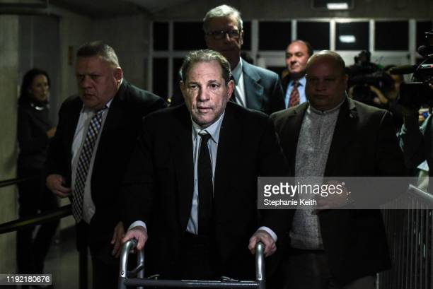 Harvey Weinstein leaves the courtroom in New York City criminal court on January 6 2020 in New York City Weinstein a movie producer whose alleged...