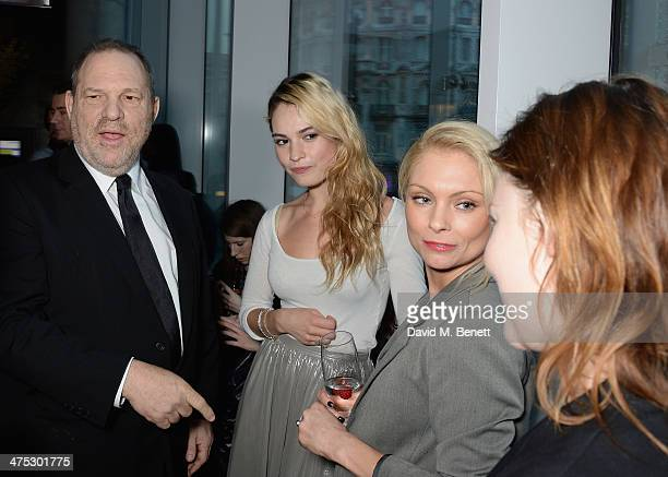 Harvey Weinstein Lily James and Myanna Buring attend a VIP screening of Harvey Weinstein's 'Escape From Planet Earth' at The W Hotel on February 27...