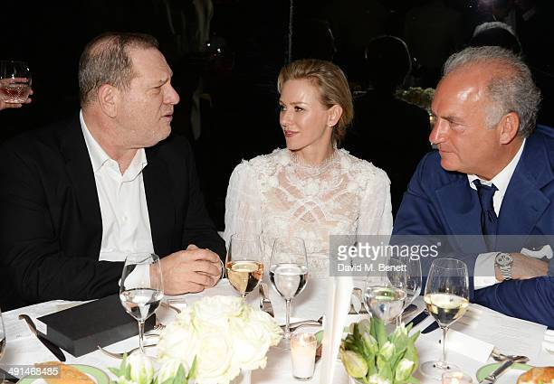 Harvey Weinstein Naomi Watts and Charles Finch attend the annual Charles Finch Filmmakers Dinner during the 67th Cannes Film Festival at Hotel du...