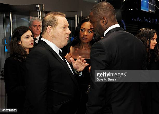 """Harvey Weinstein, Naomie Harris and Idris Elba attend the Royal Film Performance of """"Mandela: Long Walk to Freedom"""" at Odeon Leicester Square on..."""