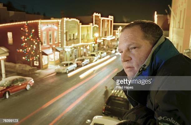 Harvey Weinstein of Miramax looks over Main Street in Park City Utah on Thursday January 17 2002 during the 2002 Sundance Film Festival Various...