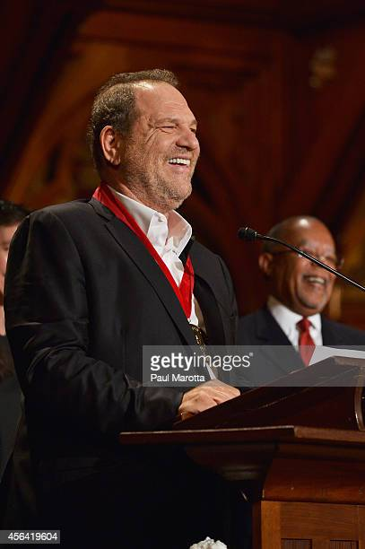 Harvey Weinstein receives the WEB Du Bois Medal at Harvard University's Sanders Theatre on September 30 2014 in Cambridge Massachusetts