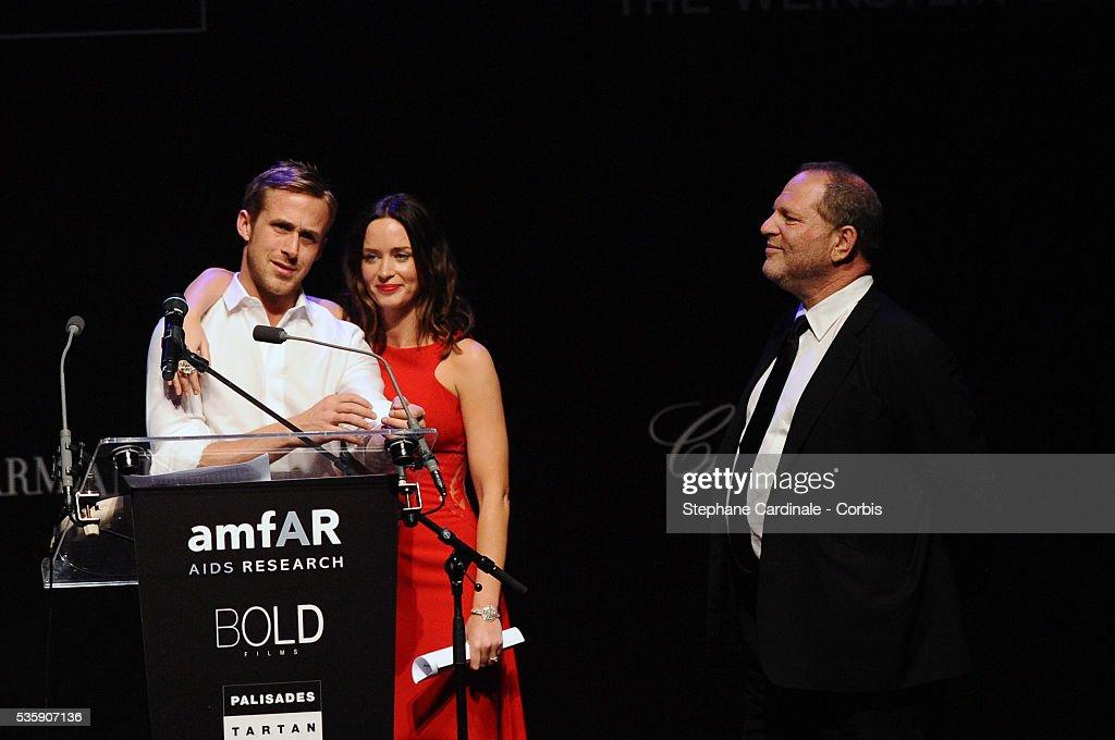 Harvey Weinstein, Ryan Gosling and Emily Blunt attend the '2010 amfAR's Cinema Against AIDS Gala'