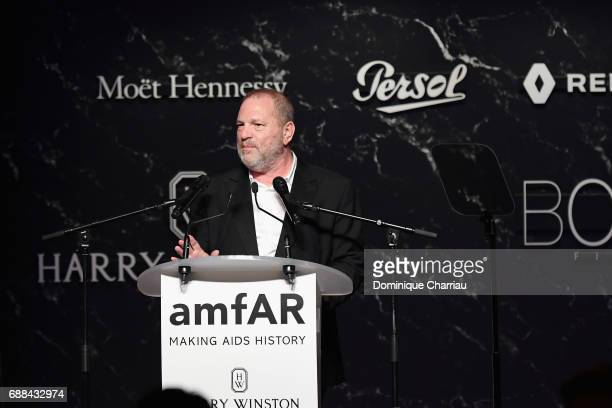 Harvey Weinstein speaks on stage at the amfAR Gala Cannes 2017 at Hotel du CapEdenRoc on May 25 2017 in Cap d'Antibes France