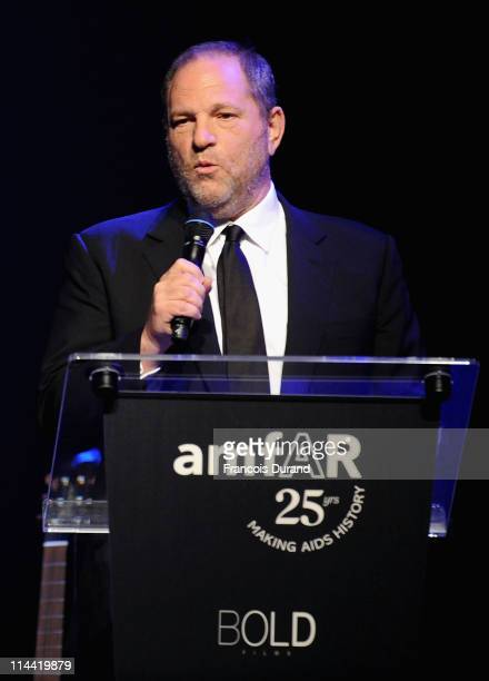 Harvey Weinstein speaks onstage at amfAR's Cinema Against AIDS Gala during the 64th Annual Cannes Film Festival at Hotel Du Cap on May 19, 2011 in...
