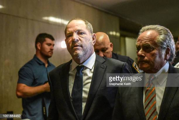 Harvey Weinstein walks away from the court room with his lawyer Benjamin Brafman at the New York State Supreme Court on October 11 2018 in New York...