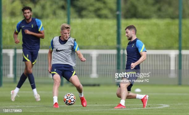 Harvey White and Ben Davies of Tottenham Hotspur during the Tottenham Hotspur pre-season training session at Tottenham Hotspur Training Centre on...