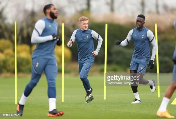 Harvey White and Davinson Sanchez of Tottenham Hotspur during the Tottenham Hotspur training session at Tottenham Hotspur Training Centre on December...