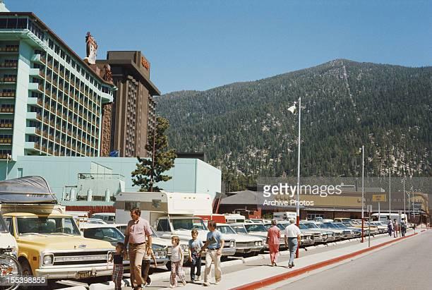 Harvey's and Harrah's resort hotels on Lake Tahoe, in Stateline, Nevada, August 1974.