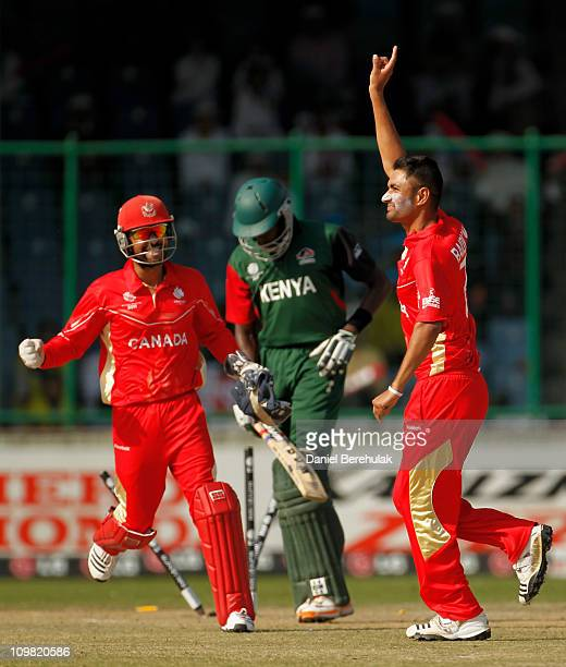 Harvir Baidwan of Canada celebrates after taking the wicket of Collins Obuya of Kenya during the ICC Cricket World Cup group A match between Canada...