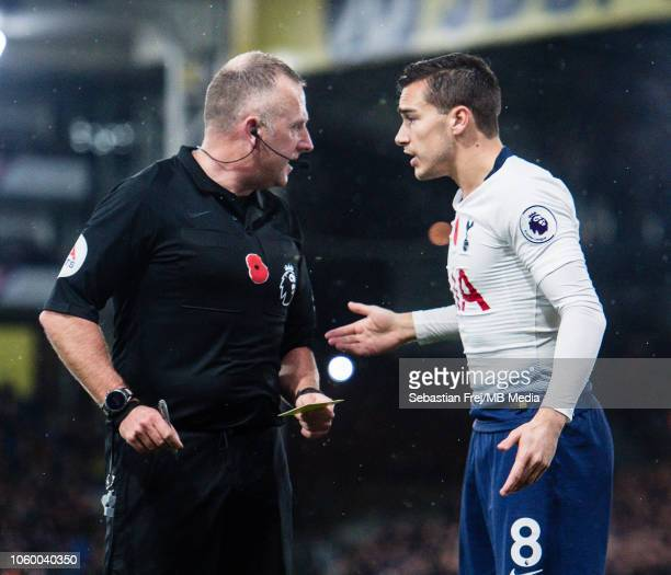 Hary Winks of Tottenham Hotspur talks with referee Jonathan Moss during the Premier League match between Crystal Palace and Tottenham Hotspur at...