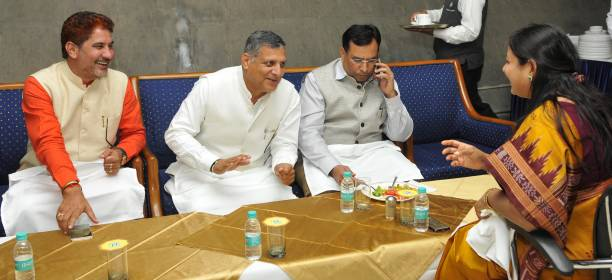 Haryana bjp president subhash barala speaker Kanwar Pal finance minister Capt Abhimanyu and Kavita Jain at Haryana Vidhan Sabha on March 7 2017 in...