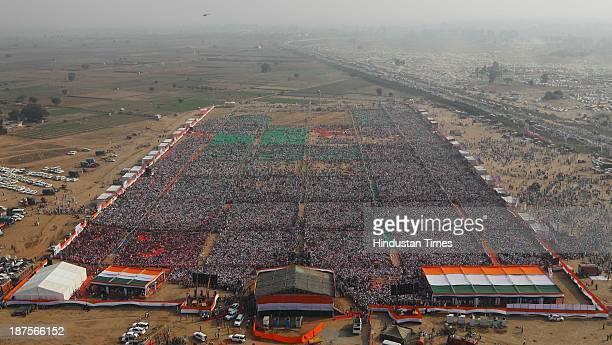 Haryana Chief Minister Bhupinder Singh Hooda addresses Haryana Shakti Rally at Gohana on November 10 2013 in Sonepat India The Shakti Rally is...