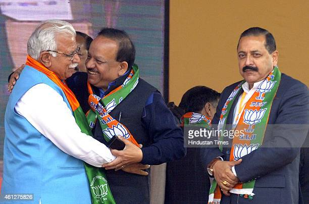 Haryana Chief Minister Manohar Khattar met with Union Minister of State in the PMO Jitendra Singh Harsh Vardhan during the 'Abhinandan rally' of...