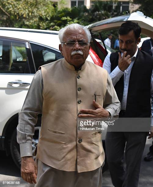Haryana Chief Minister Manohar Lal Khattar arrives to pay his respect to Kamla Advani wife of BJP leader LK Advani at his residence at Prithvi Raj...