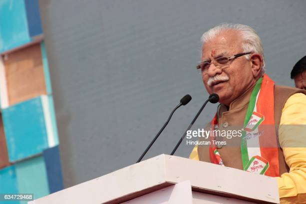 Haryana Chief Minister Manohar Lal Khattar during the Voice of Unity Concert at Tau Devi Lal Stadium on January 31 2017 in Gurugram India The sheer...