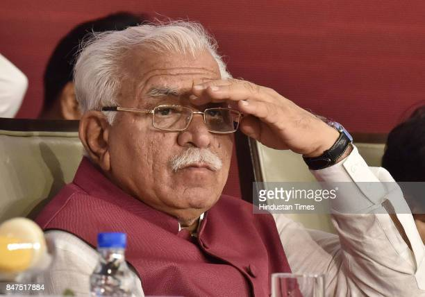 Haryana CM Manohar Lal Khattar during the Digital Haryana Summit 2017 on September 15 2017 in Gurgaon India Haryana government launched the Cyber...