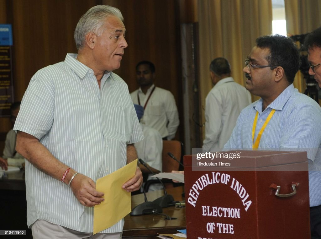 Haryana Congress leader Karan Dalal during the presidential election at Haryana Vidhan Sabha on July 17 2017 in Chandigarh India Approx 99% voting...