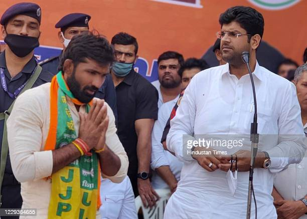 Haryana Deputy chief minister Dushyant Chautala addresses a public meeting in support of BJP Candidate from Baroda assembly constituency Yogeshwar...